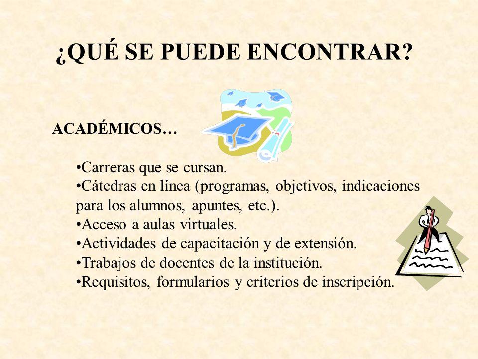 ACADÉMICOS… Carreras que se cursan. Cátedras en línea (programas, objetivos, indicaciones para los alumnos, apuntes, etc.). Acceso a aulas virtuales.