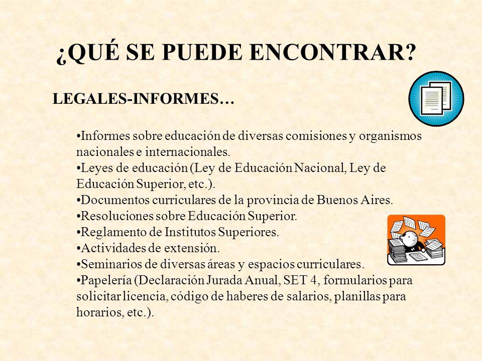 LEGALES-INFORMES… Informes sobre educación de diversas comisiones y organismos nacionales e internacionales. Leyes de educación (Ley de Educación Naci