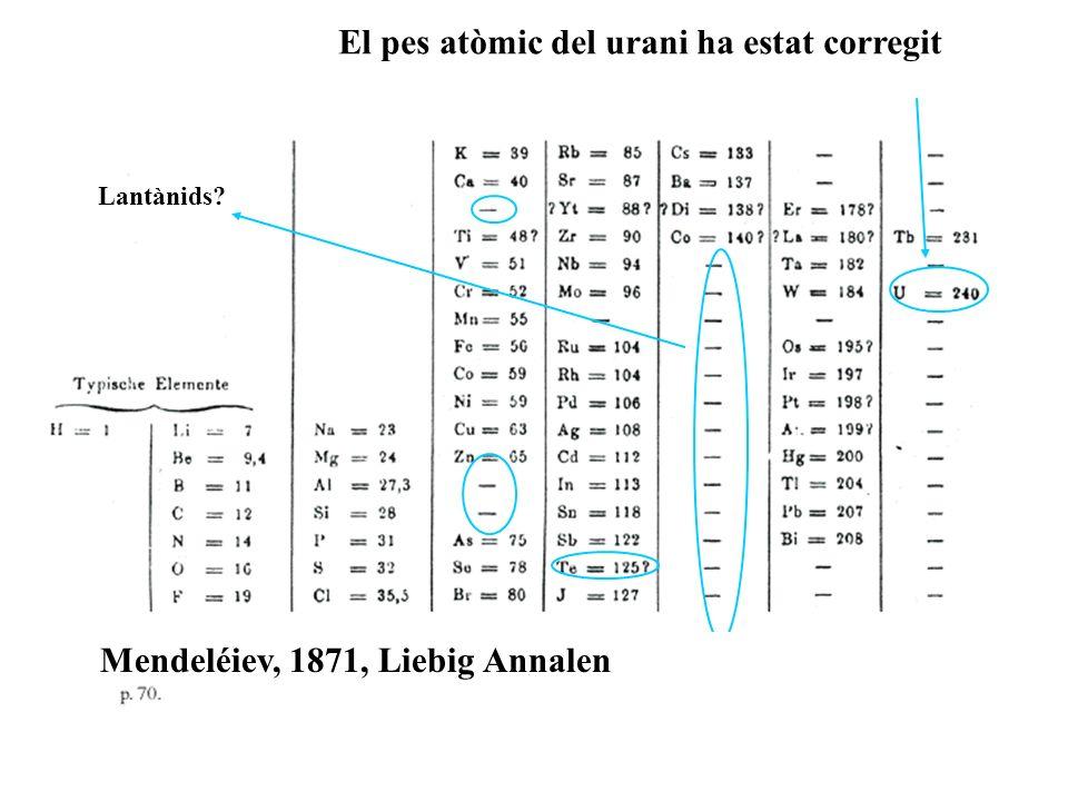 Lantànids Mendeléiev, 1871, Liebig Annalen El pes atòmic del urani ha estat corregit