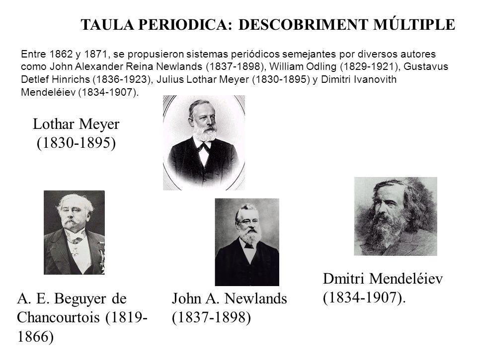 TAULA PERIODICA: DESCOBRIMENT MÚLTIPLE Lothar Meyer (1830-1895) A.