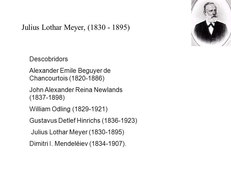 Julius Lothar Meyer, (1830 - 1895) Descobridors Alexander Emile Beguyer de Chancourtois (1820-1886) John Alexander Reina Newlands (1837-1898) William