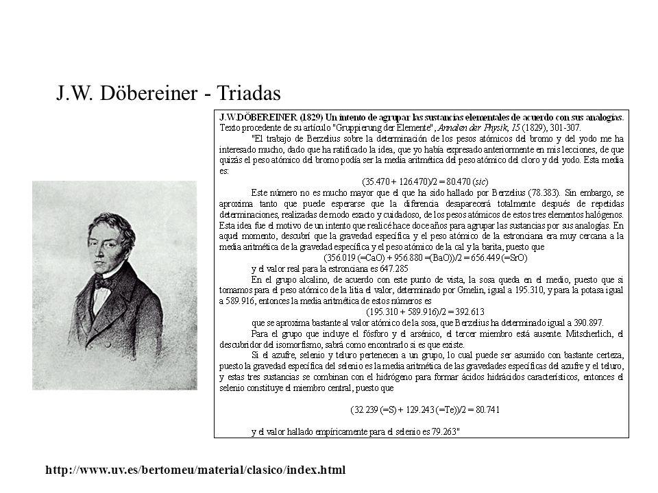 J.W. Döbereiner - Triadas http://www.uv.es/bertomeu/material/clasico/index.html
