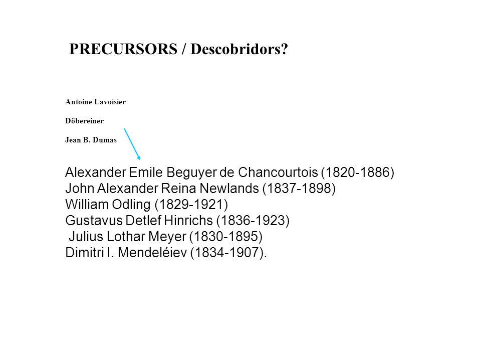PRECURSORS / Descobridors.Antoine Lavoisier Döbereiner Jean B.