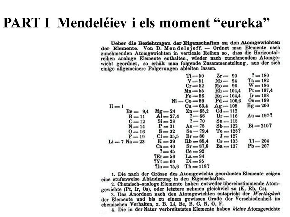 PART I Mendeléiev i els moment eureka
