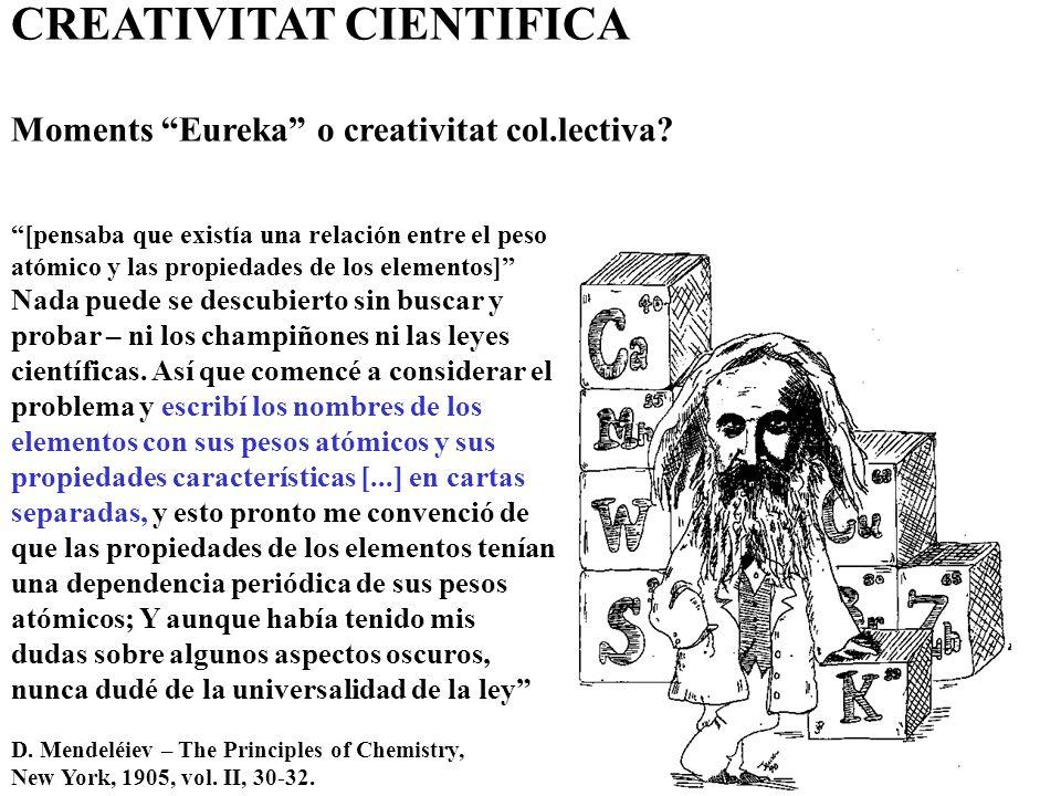 CREATIVITAT CIENTIFICA Moments Eureka o creativitat col.lectiva.