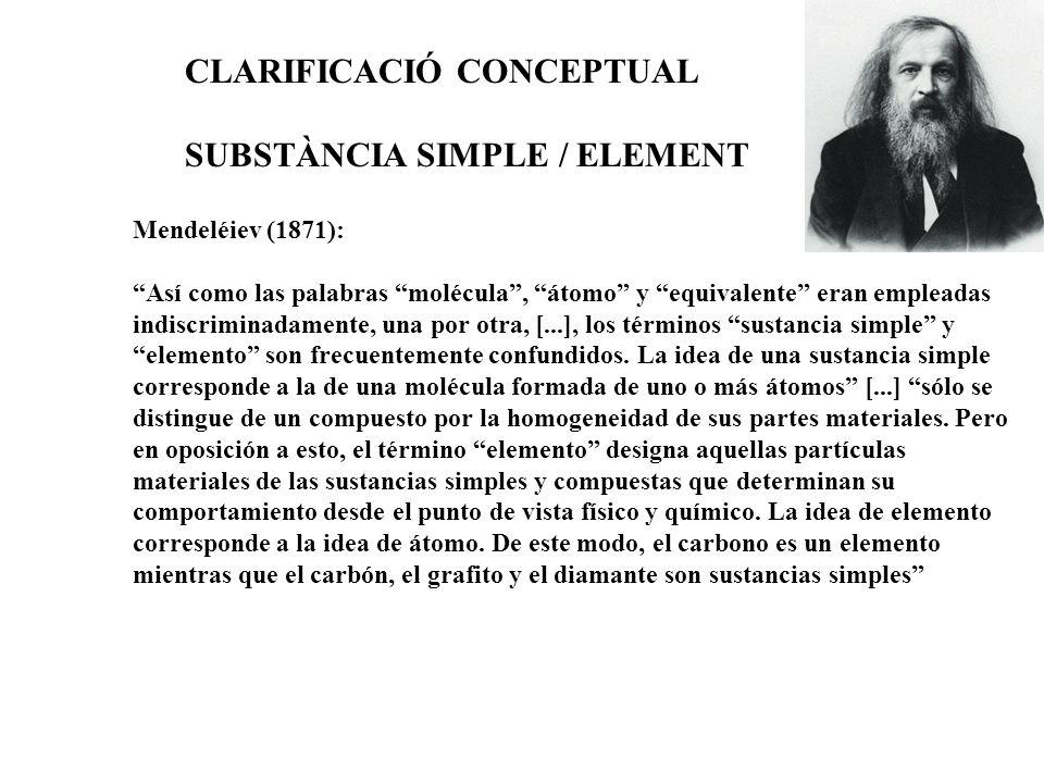 Mendeléiev (1871): Así como las palabras molécula, átomo y equivalente eran empleadas indiscriminadamente, una por otra, [...], los términos sustancia simple y elemento son frecuentemente confundidos.