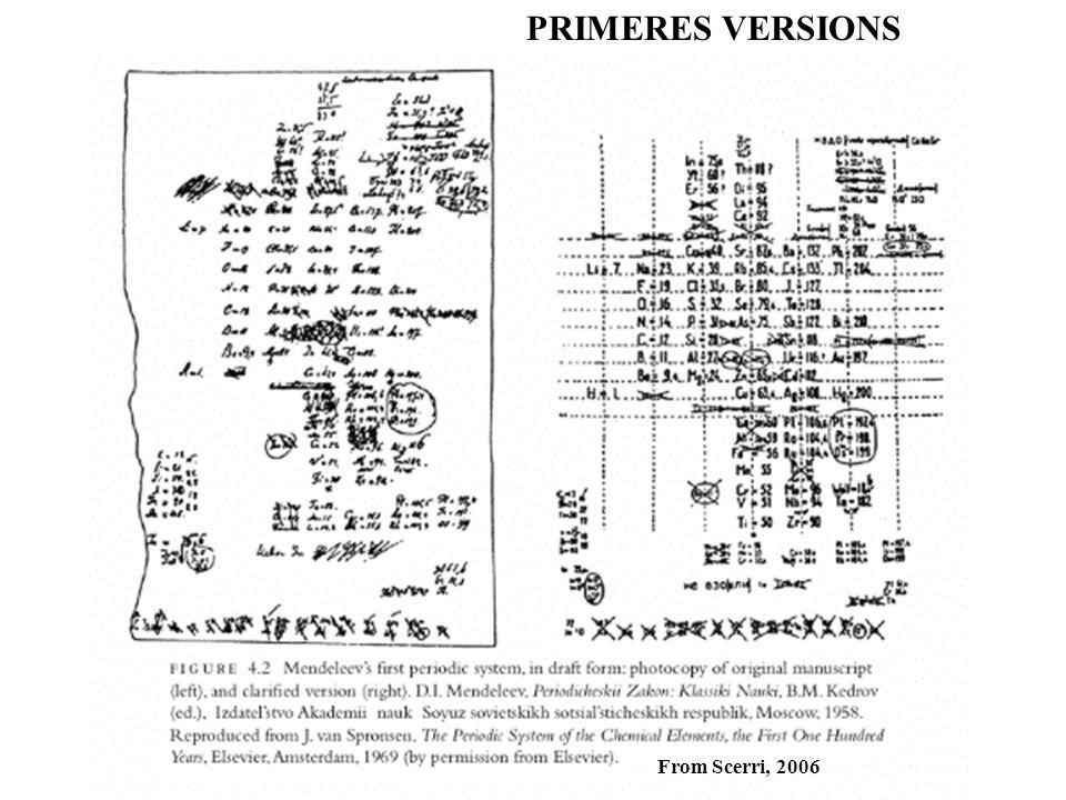 PRIMERES VERSIONS from Scerri, 2006
