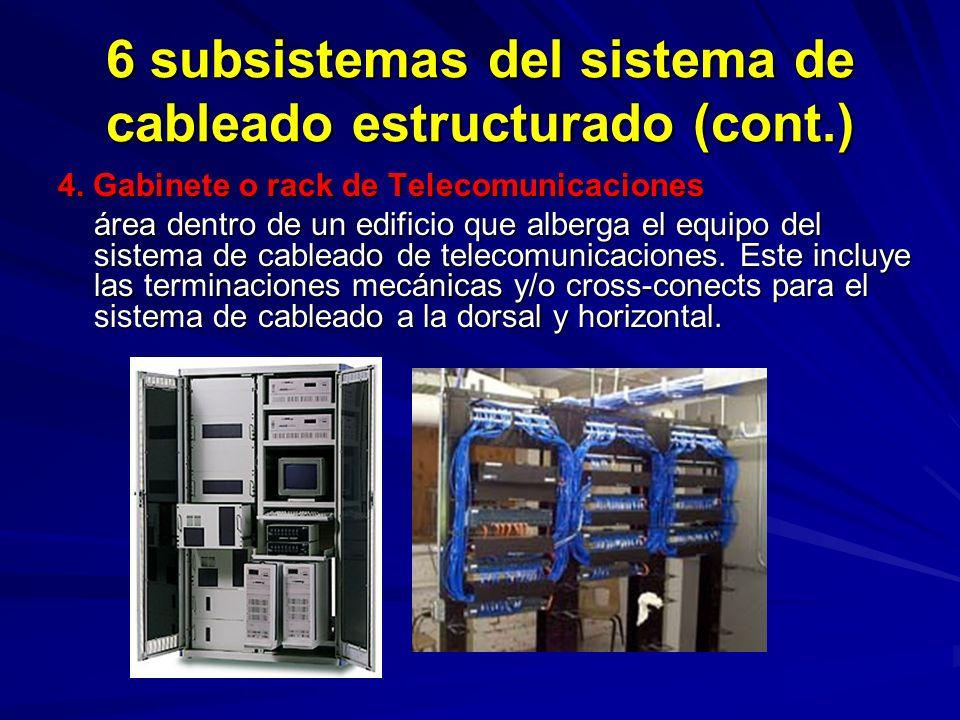 6 subsistemas del sistema de cableado estructurado (cont.) 4.