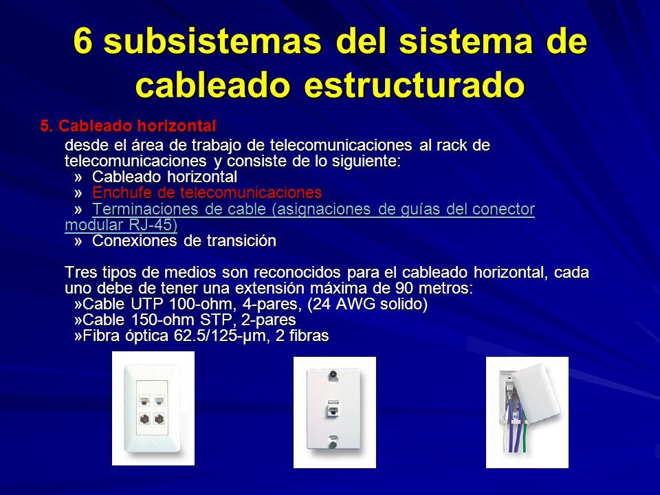 6 subsistemas del sistema de cableado estructurado 5.