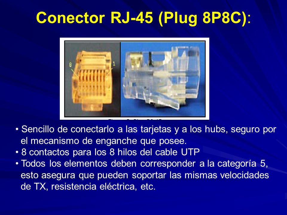 Conector RJ-45 (Plug 8P8C): Sencillo de conectarlo a las tarjetas y a los hubs, seguro por el mecanismo de enganche que posee.