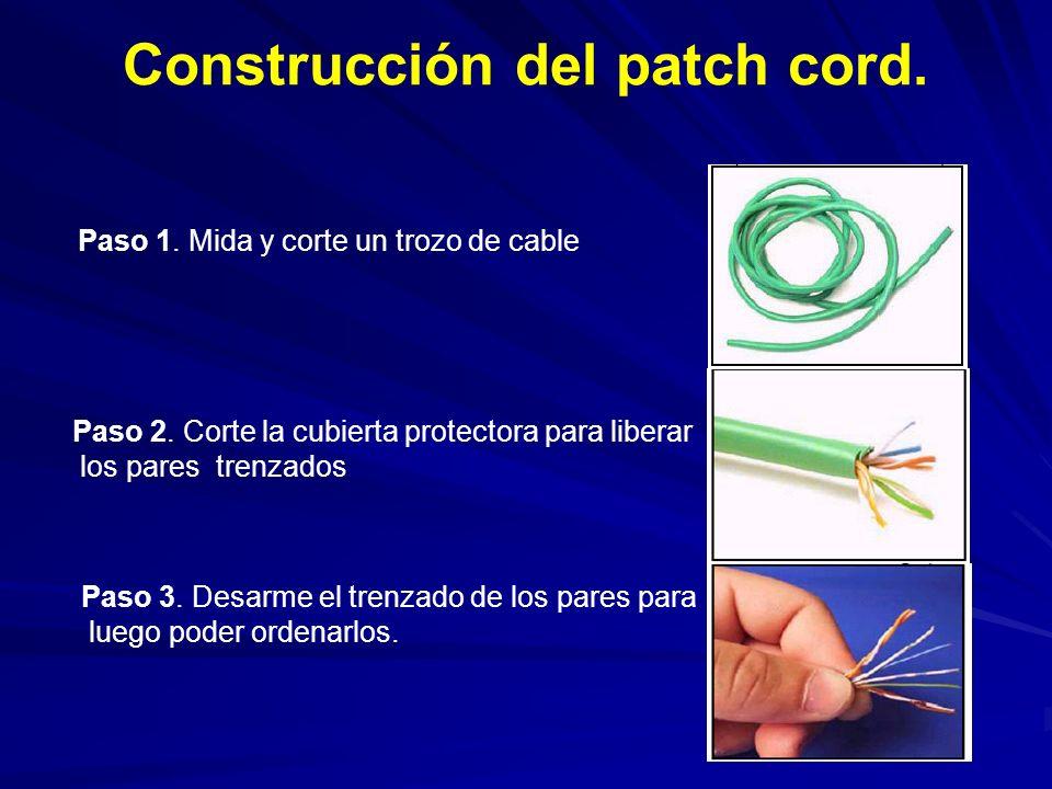 Construcción del patch cord.Paso 1. Mida y corte un trozo de cable Paso 2.