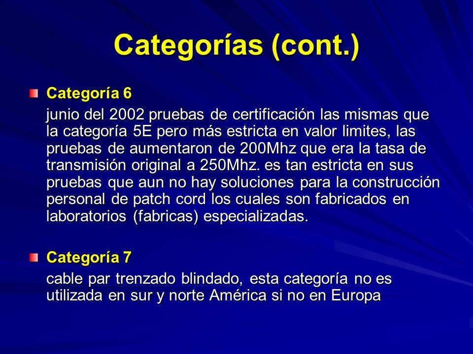 Categoría 6 junio del 2002 pruebas de certificación las mismas que la categoría 5E pero más estricta en valor limites, las pruebas de aumentaron de 200Mhz que era la tasa de transmisión original a 250Mhz.