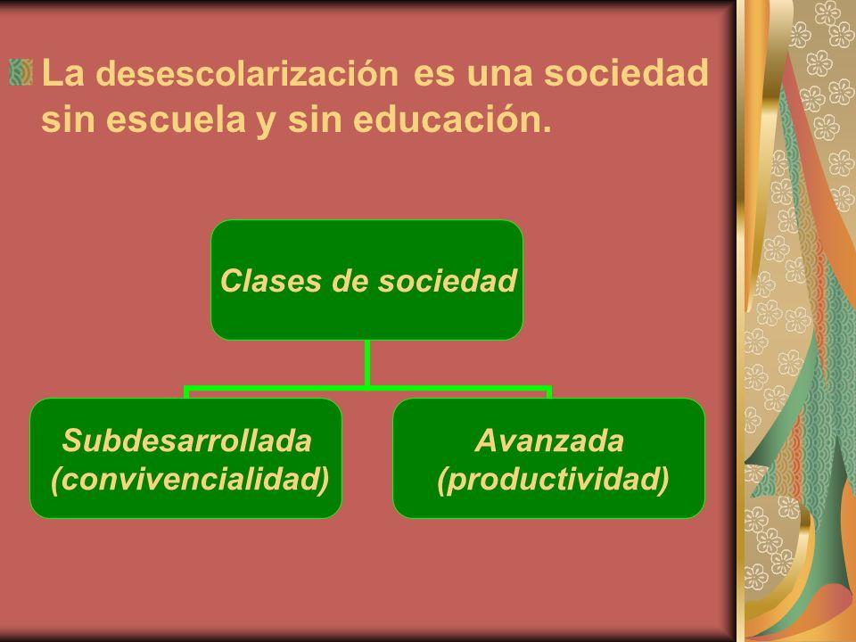 La desescolarización es una sociedad sin escuela y sin educación. Clases de sociedad Subdesarrollada (convivencialidad) Avanzada (productividad)