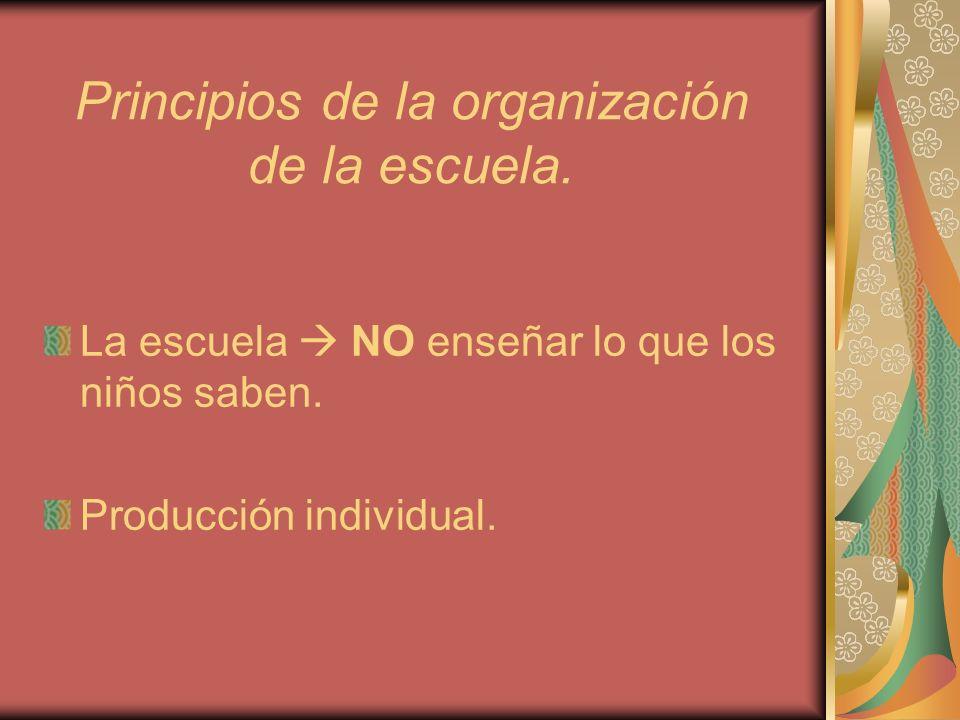 Principios de la organización de la escuela. La escuela NO enseñar lo que los niños saben. Producción individual.
