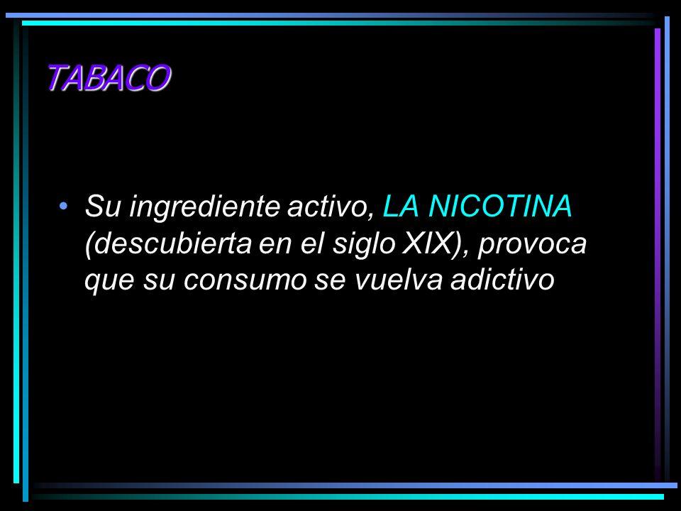TABACO Su ingrediente activo, LA NICOTINA (descubierta en el siglo XIX), provoca que su consumo se vuelva adictivo