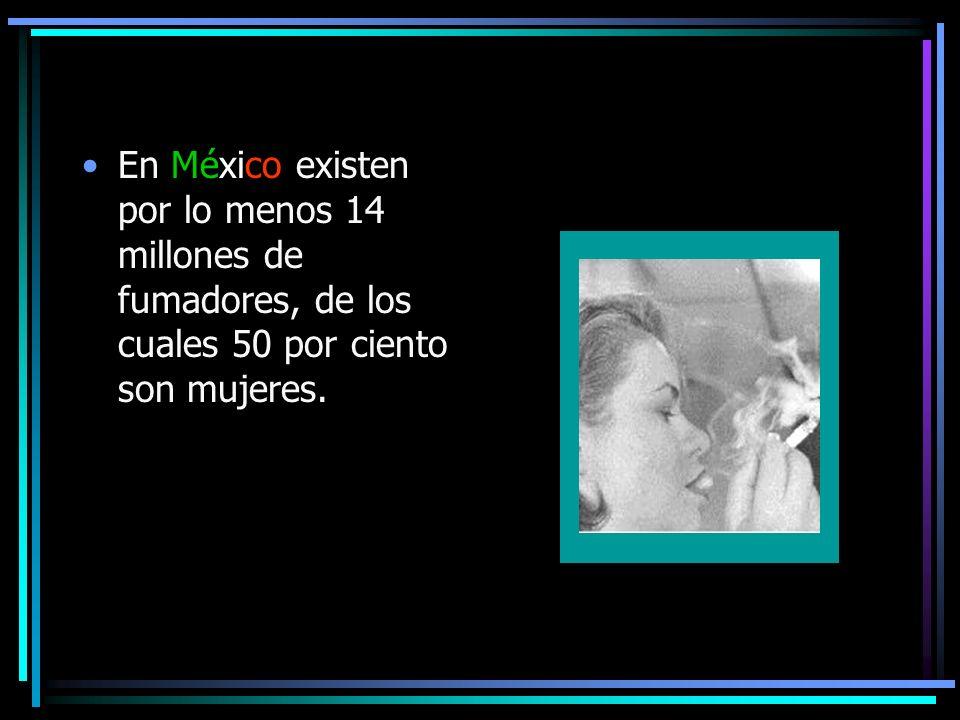 En México existen por lo menos 14 millones de fumadores, de los cuales 50 por ciento son mujeres.