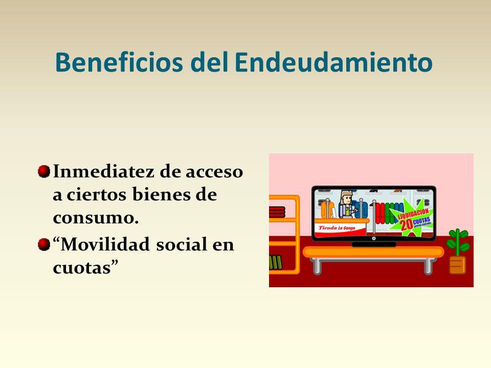 Beneficios del Endeudamiento Inmediatez de acceso a ciertos bienes de consumo. Movilidad social en cuotas
