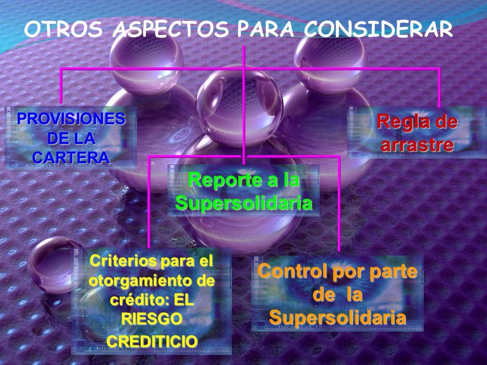 Criterios para el otorgamiento de crédito: EL RIESGO CREDITICIO Reporte a la Supersolidaria PROVISIONES DE LA CARTERA Control por parte de la Supersol