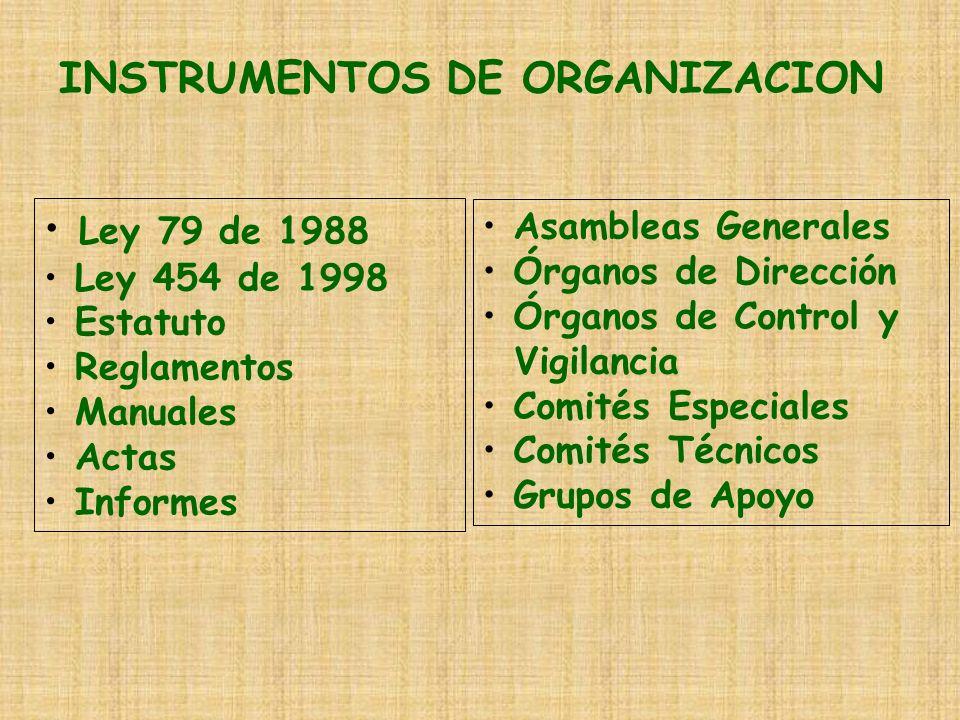 INSTRUMENTOS DE ORGANIZACION Ley 79 de 1988 Ley 454 de 1998 Estatuto Reglamentos Manuales Actas Informes Asambleas Generales Órganos de Dirección Órga
