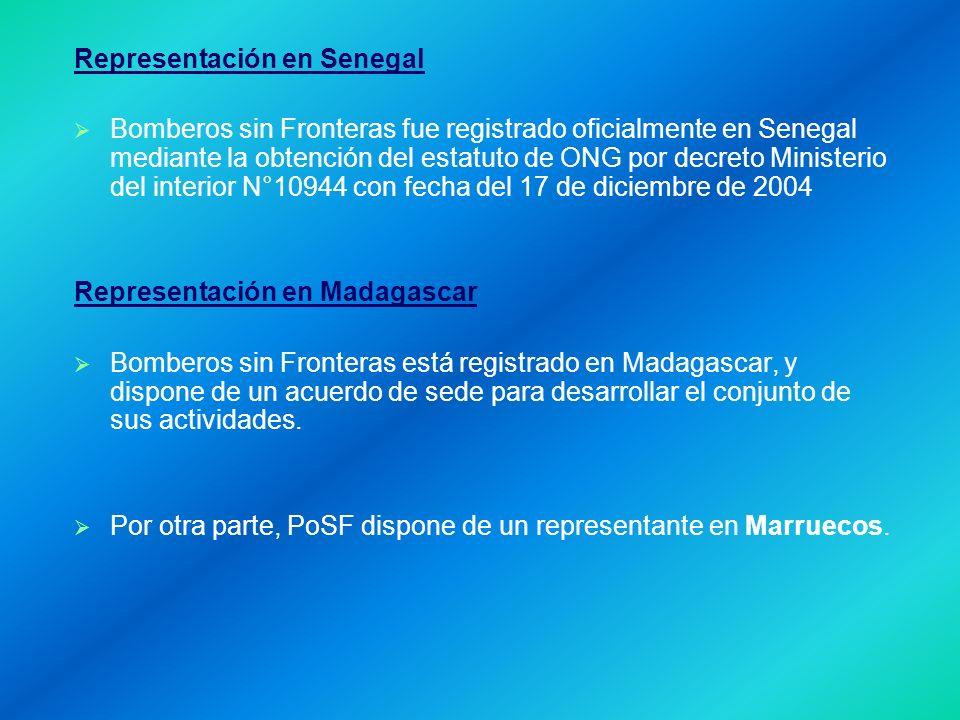 Representación en Senegal Bomberos sin Fronteras fue registrado oficialmente en Senegal mediante la obtención del estatuto de ONG por decreto Ministerio del interior N°10944 con fecha del 17 de diciembre de 2004 Representación en Madagascar Bomberos sin Fronteras está registrado en Madagascar, y dispone de un acuerdo de sede para desarrollar el conjunto de sus actividades.