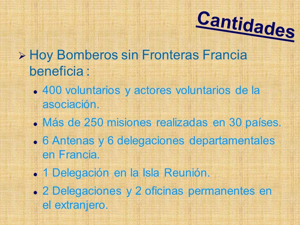Cantidades Hoy Bomberos sin Fronteras Francia beneficia : 400 voluntarios y actores voluntarios de la asociación.