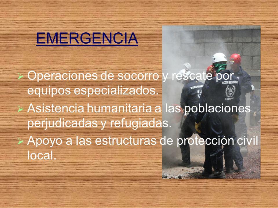 EMERGENCIA Operaciones de socorro y rescate por equipos especializados.