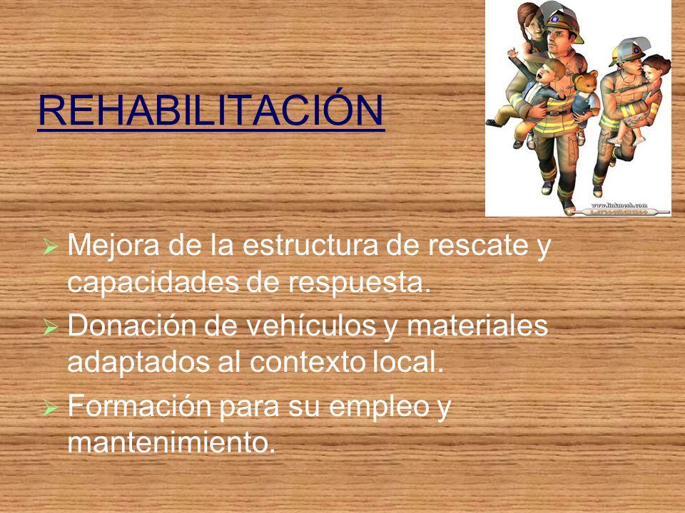 REHABILITACIÓN Mejora de la estructura de rescate y capacidades de respuesta.
