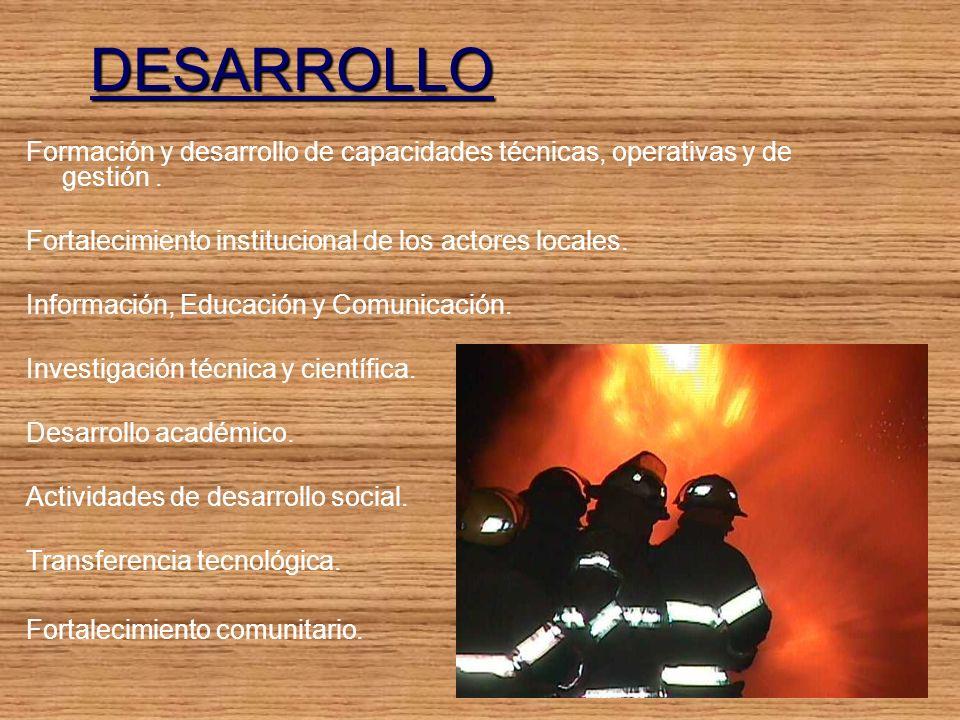 DESARROLLO Formación y desarrollo de capacidades técnicas, operativas y de gestión.