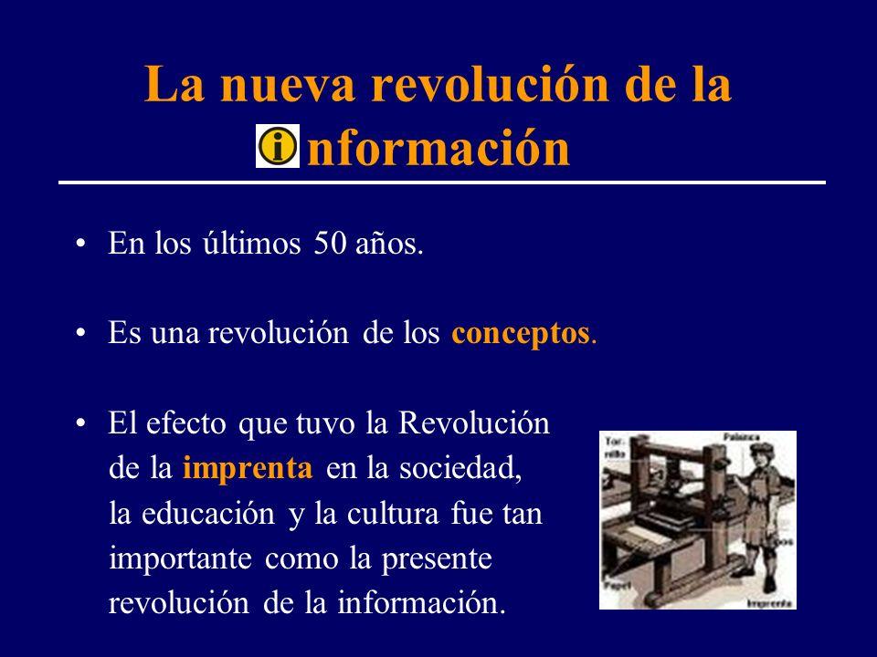 La nueva revolución de la nformación En los últimos 50 años. Es una revolución de los conceptos. El efecto que tuvo la Revolución de la imprenta en la