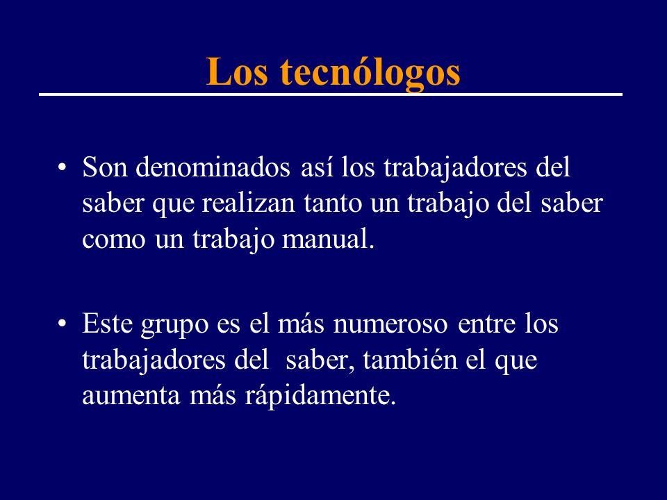 Los tecnólogos Son denominados así los trabajadores del saber que realizan tanto un trabajo del saber como un trabajo manual. Este grupo es el más num