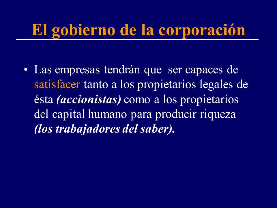 El gobierno de la corporación Las empresas tendrán que ser capaces de satisfacer tanto a los propietarios legales de ésta (accionistas) como a los pro