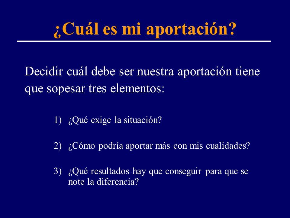 ¿Cuál es mi aportación? Decidir cuál debe ser nuestra aportación tiene que sopesar tres elementos: 1)¿Qué exige la situación? 2)¿Cómo podría aportar m