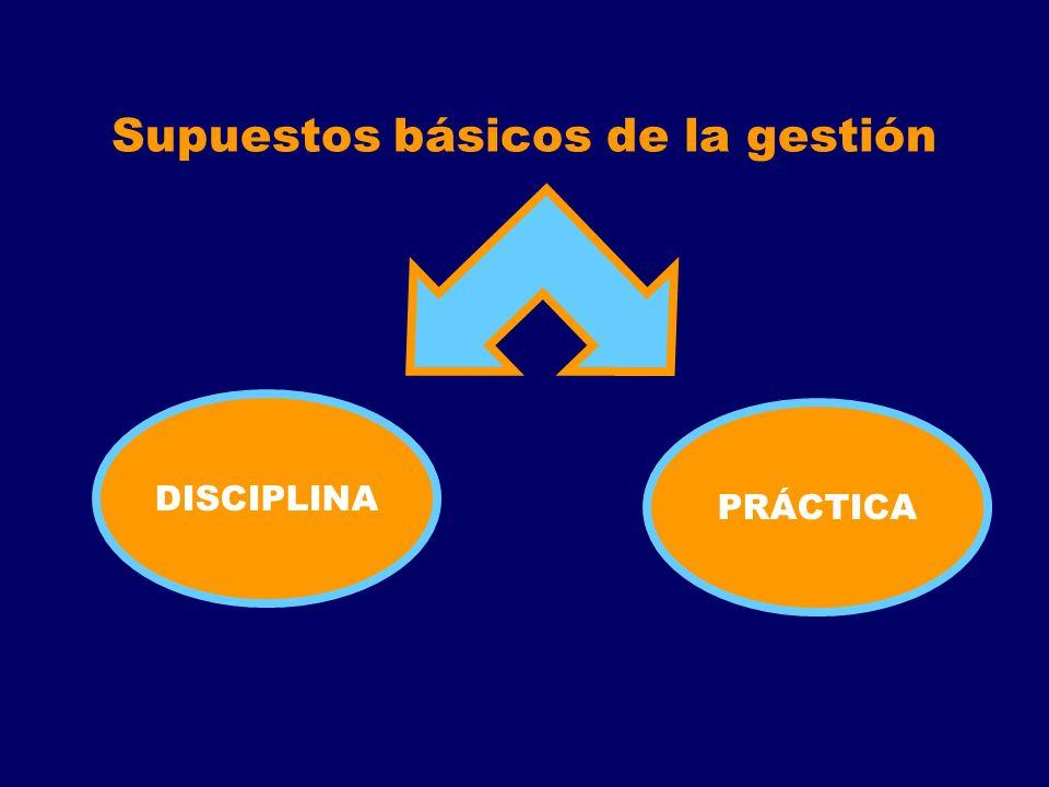Supuestos básicos de la gestión DISCIPLINA PRÁCTICA