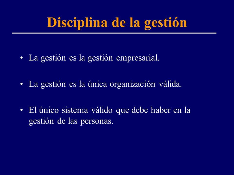 Disciplina de la gestión La gestión es la gestión empresarial. La gestión es la única organización válida. El único sistema válido que debe haber en l