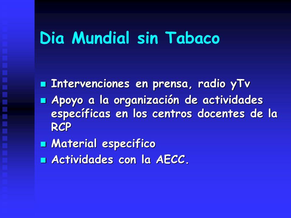 Dia Mundial sin Tabaco Intervenciones en prensa, radio yTv Intervenciones en prensa, radio yTv Apoyo a la organización de actividades específicas en l