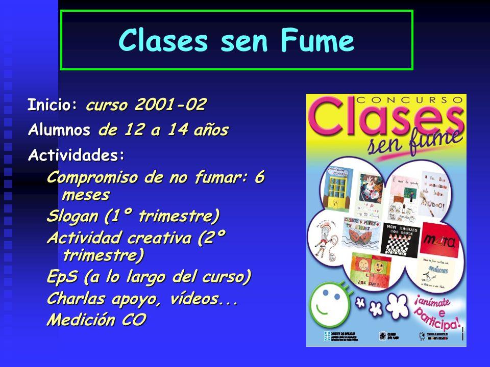 Inicio: curso 2001-02 Alumnos de 12 a 14 años Actividades: Compromiso de no fumar: 6 meses Slogan (1º trimestre) Actividad creativa (2º trimestre) EpS