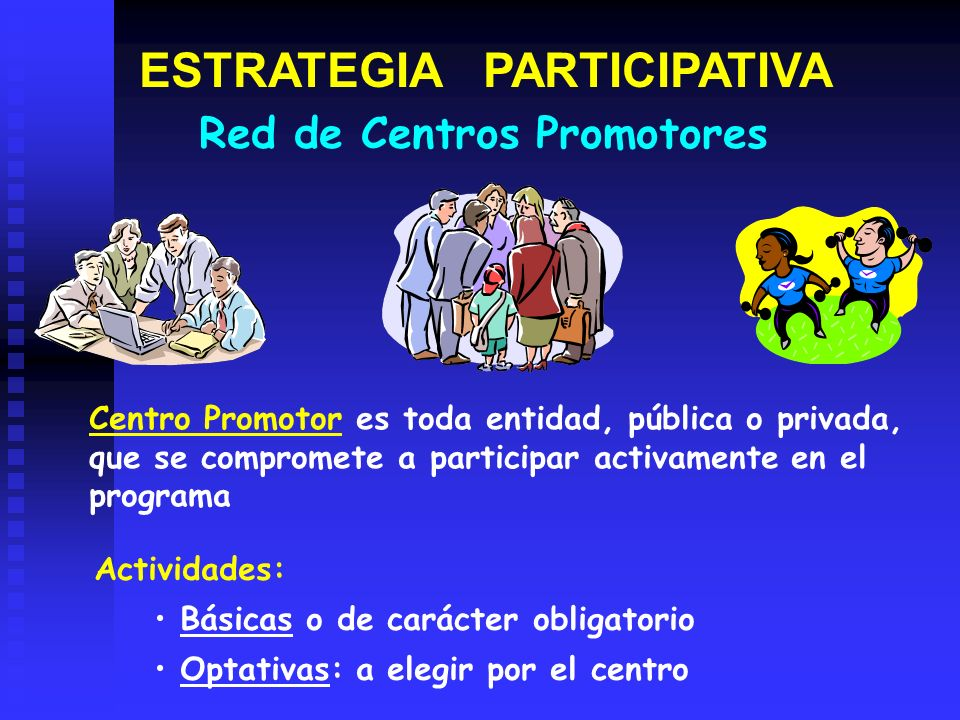 ESTRATEGIA PARTICIPATIVA Actividades: Básicas o de carácter obligatorio Optativas: a elegir por el centro Centro Promotor es toda entidad, pública o p