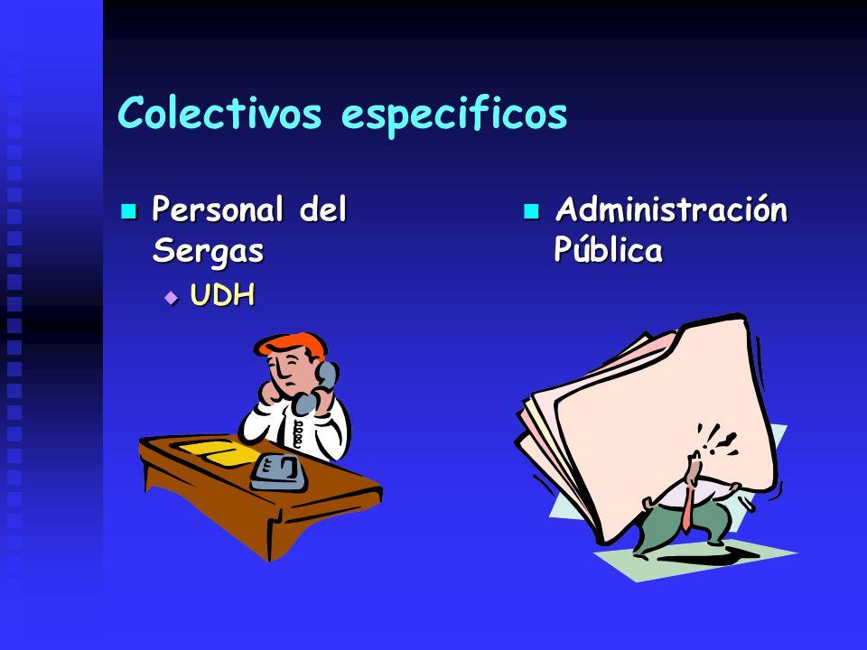 Colectivos especificos Personal del Sergas Personal del Sergas UDH UDH Administración Pública