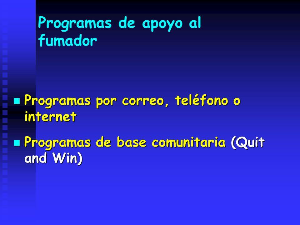 Programas de apoyo al fumador Programas por correo, teléfono o internet Programas por correo, teléfono o internet Programas de base comunitaria (Quit
