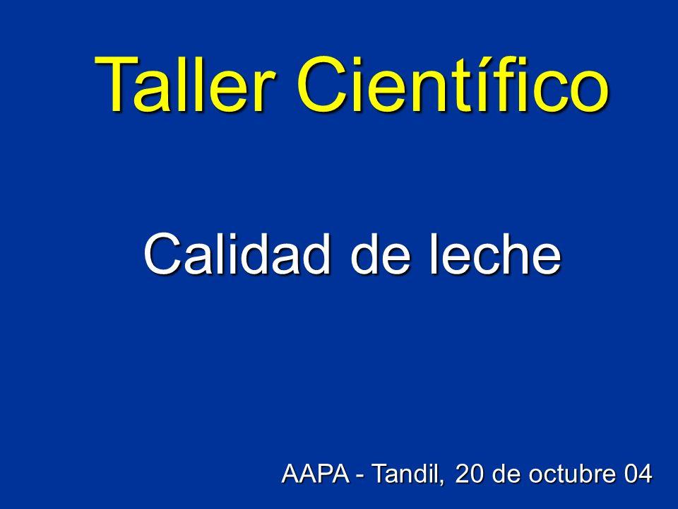 Taller Científico Calidad de leche AAPA - Tandil, 20 de octubre 04