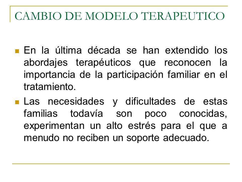 CAMBIO DE MODELO TERAPEUTICO En la última década se han extendido los abordajes terapéuticos que reconocen la importancia de la participación familiar