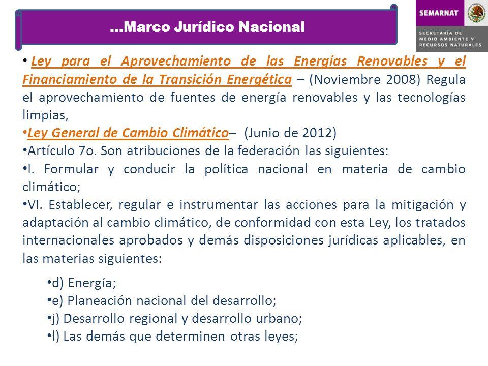 Ley para el Aprovechamiento de las Energías Renovables y el Financiamiento de la Transición Energética – (Noviembre 2008) Regula el aprovechamiento de
