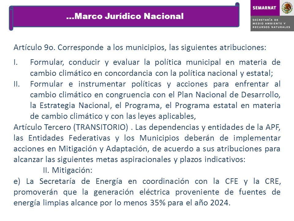 Artículo 9o. Corresponde a los municipios, las siguientes atribuciones: I.Formular, conducir y evaluar la política municipal en materia de cambio clim