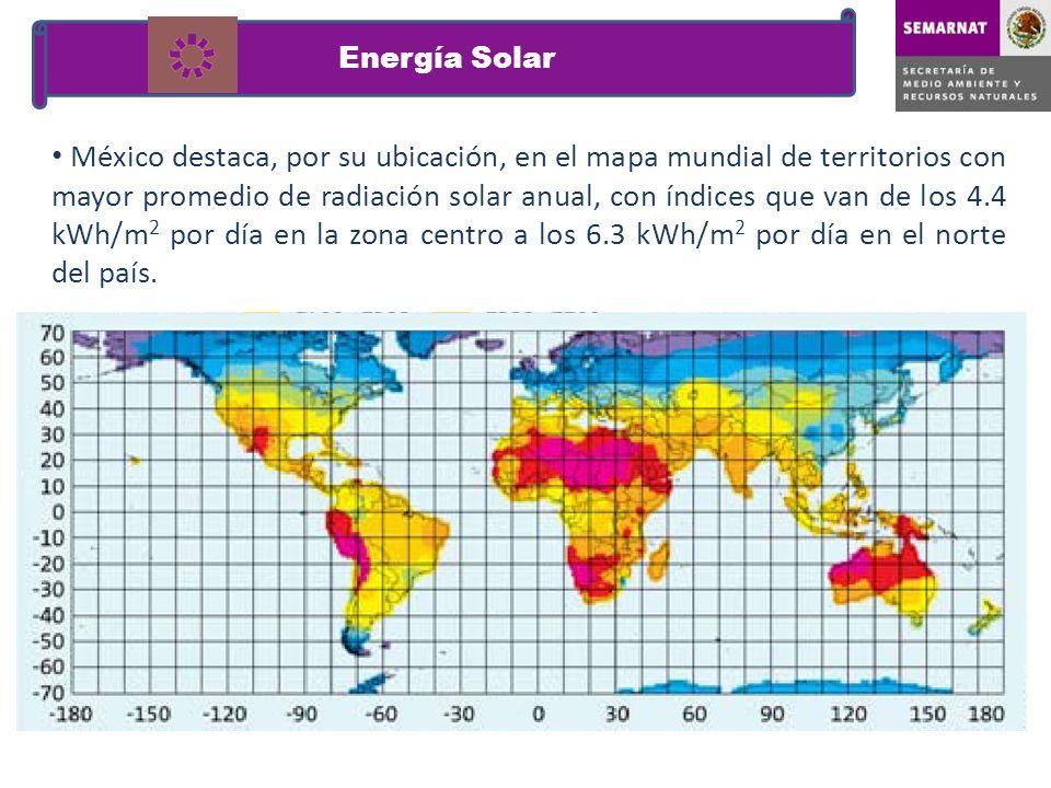 México destaca, por su ubicación, en el mapa mundial de territorios con mayor promedio de radiación solar anual, con índices que van de los 4.4 kWh/m