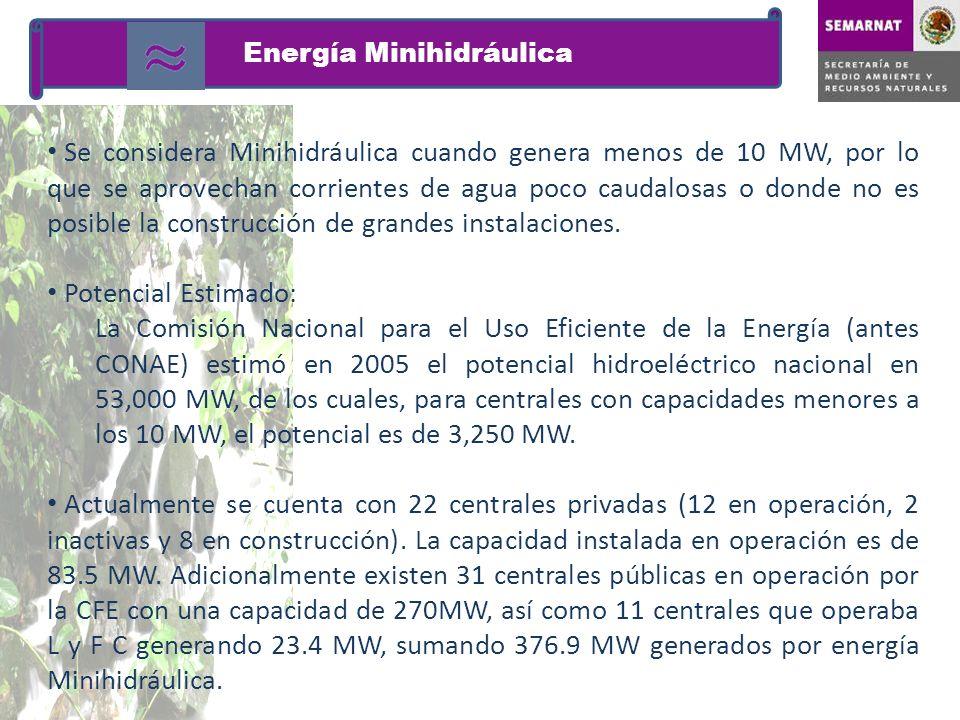 Se considera Minihidráulica cuando genera menos de 10 MW, por lo que se aprovechan corrientes de agua poco caudalosas o donde no es posible la constru