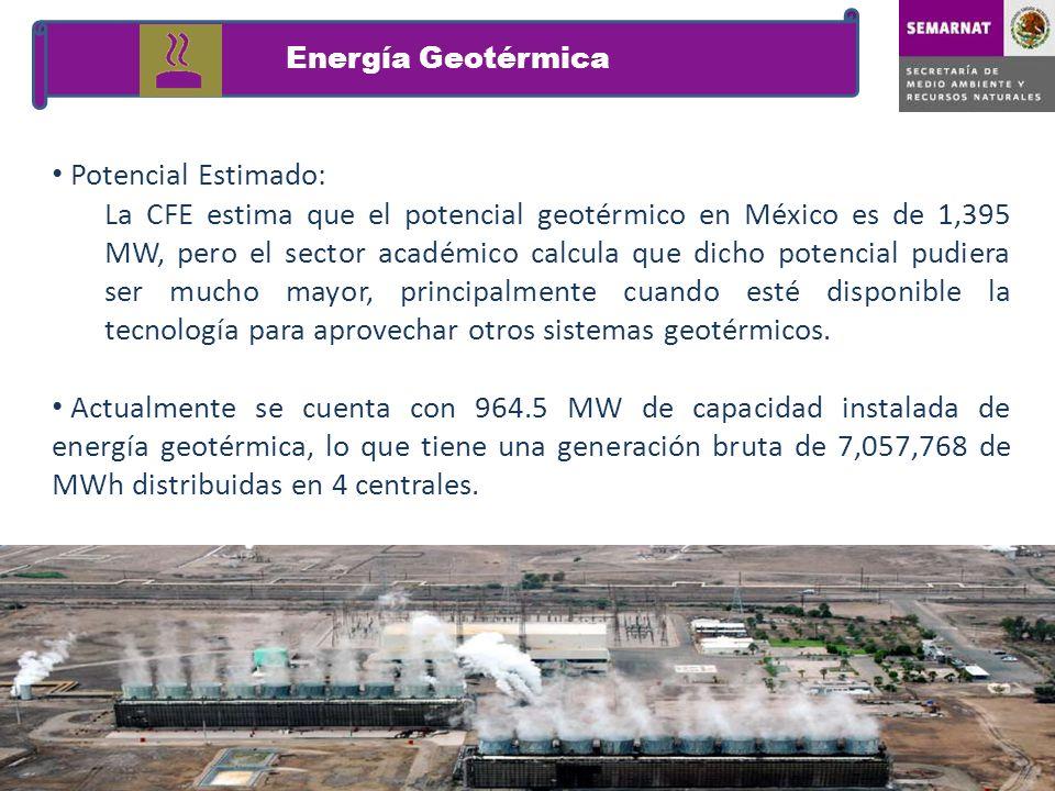 Potencial Estimado: La CFE estima que el potencial geotérmico en México es de 1,395 MW, pero el sector académico calcula que dicho potencial pudiera s
