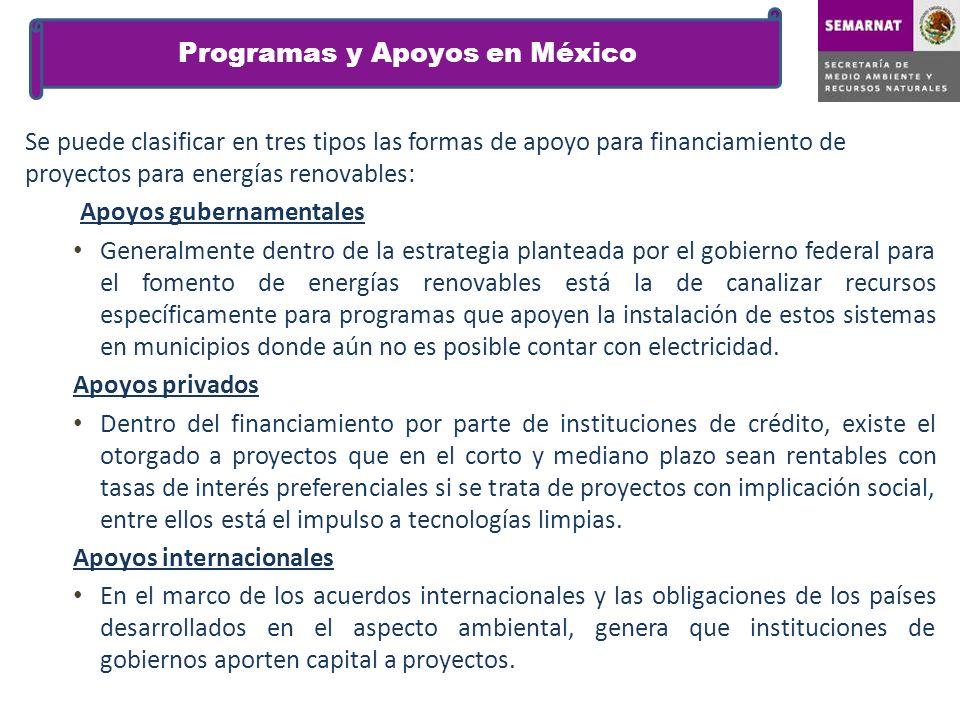 Programas y Apoyos en México Se puede clasificar en tres tipos las formas de apoyo para financiamiento de proyectos para energías renovables: Apoyos g