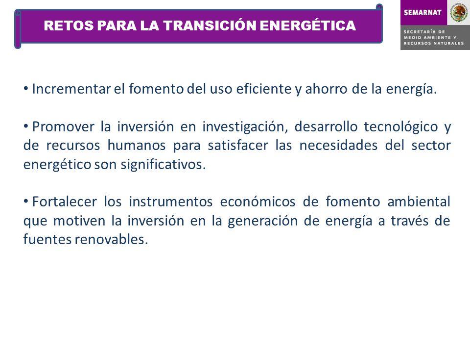 Incrementar el fomento del uso eficiente y ahorro de la energía. Promover la inversión en investigación, desarrollo tecnológico y de recursos humanos