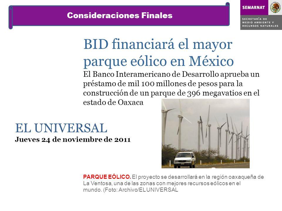 BID financiará el mayor parque eólico en México El Banco Interamericano de Desarrollo aprueba un préstamo de mil 100 millones de pesos para la constru