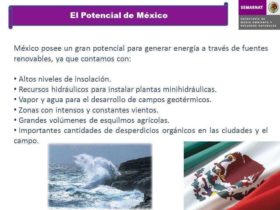 México posee un gran potencial para generar energía a través de fuentes renovables, ya que contamos con: Altos niveles de insolación. Recursos hidrául